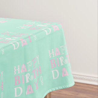 Funky happy birthday picnic tablecloth