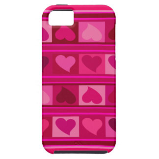 Funky Hearts and Squares fuschia raspberry pink iPhone 5/5S Covers