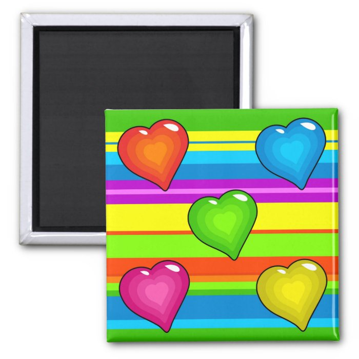 Funky Hearts Square Magnet