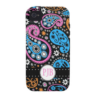 Funky Hippie Paisley Print Personalized Vibe iPhone 4 Covers