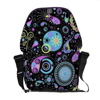 funky hippie retro abstract design courier bag