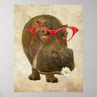 Funky Hippopotamus Poster! Poster