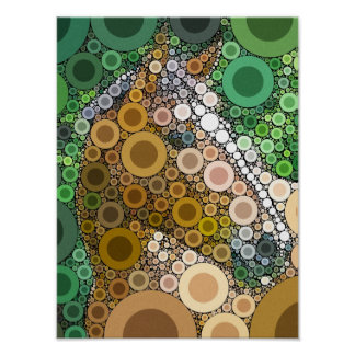 Funky Horse Circles Bubbles Modern Art Poster