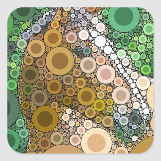 Funky Horse Circles Bubbles Modern Art Square Sticker