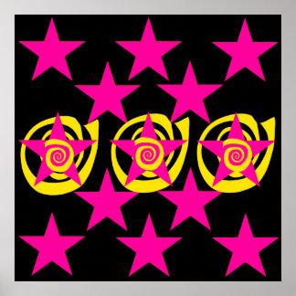 Funky Hot Pink and Black Stars Swirls Pattern Poster