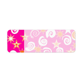 Funky Hot Pink Orange Stars Swirls Fun Pattern Return Address Label