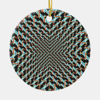Funky Illusion Round Ceramic Decoration