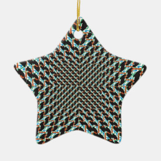 Funky Illusion Double-Sided Star Ceramic Christmas Ornament