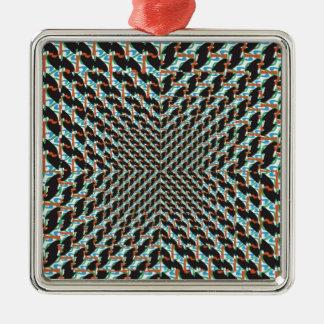 Funky Illusion Silver-Colored Square Decoration
