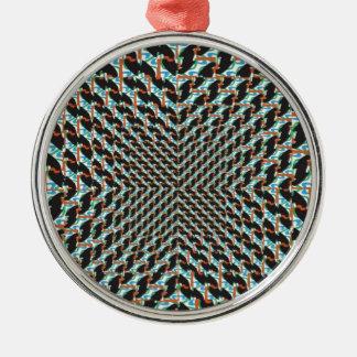 Funky Illusion Silver-Colored Round Decoration