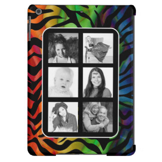 Funky Instagram Photo Collage Rainbow Zebra Cover For iPad Air