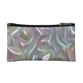 Funky Iridescent Abstract Peary White Luster Makeup Bag