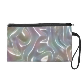 Funky Iridescent Abstract Peary White Luster Wristlet Purse