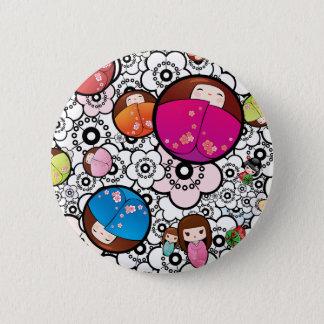 Funky Japanese Kokeshi Dolls button