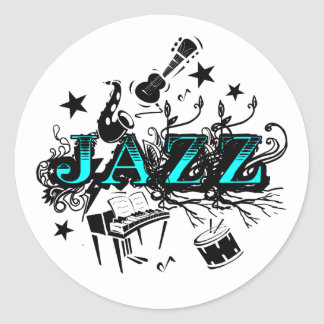 Funky Jazz Classic Round Sticker