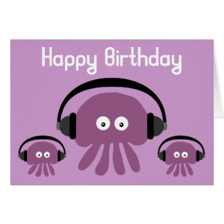 Funky Jellyfish DJ Birthday Greeting Card