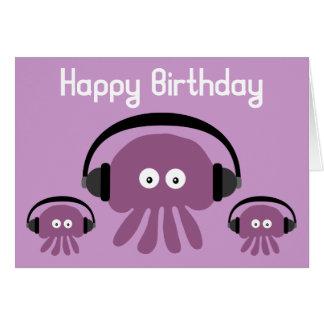 Funky Jellyfish DJ Birthday Greeting Card
