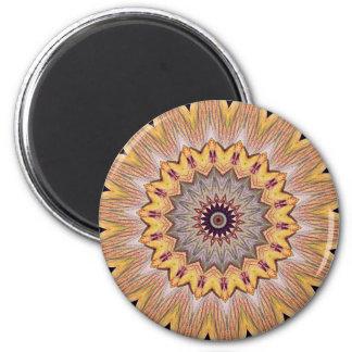 Funky Kaleidoscope Sunflower Mandala 6 Cm Round Magnet