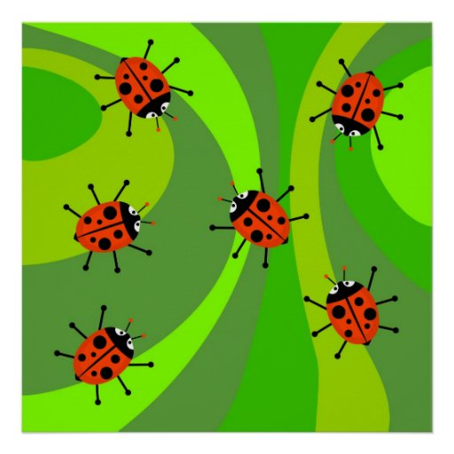 Funky Ladybugs Poster