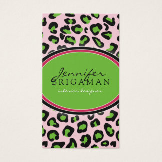 Funky Leopard Print Business Card :: green/pink