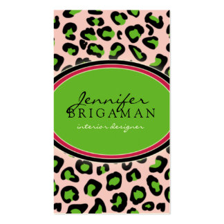 Funky Leopard Print Business Card green pink