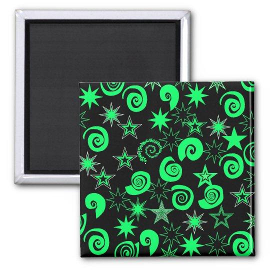 Funky Lime Green Black Stars Swirls Fun Pattern Square Magnet