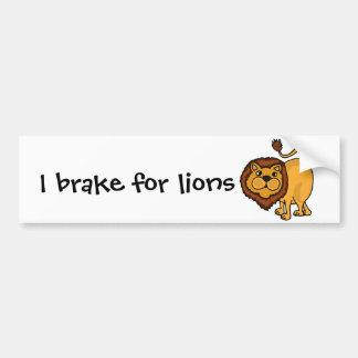 Funky Lion Art Cartoon Car Bumper Sticker