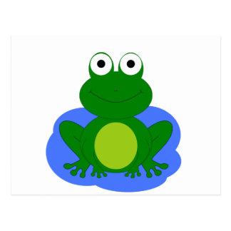 Funky little frog pond post card