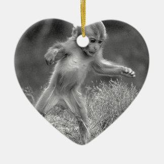 Funky Little Monkey Ceramic Heart Decoration