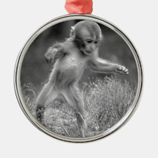 Funky Little Monkey Silver-Colored Round Decoration