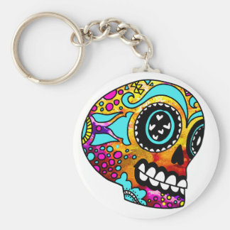 Funky Little Sugar Skulls by OneCuriousHuman Basic Round Button Key Ring