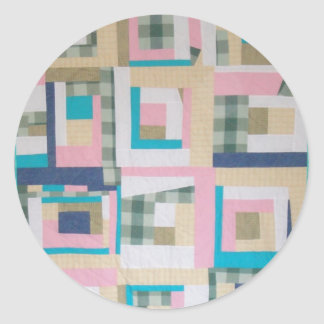 Funky Log Cabin Quilt Classic Round Sticker