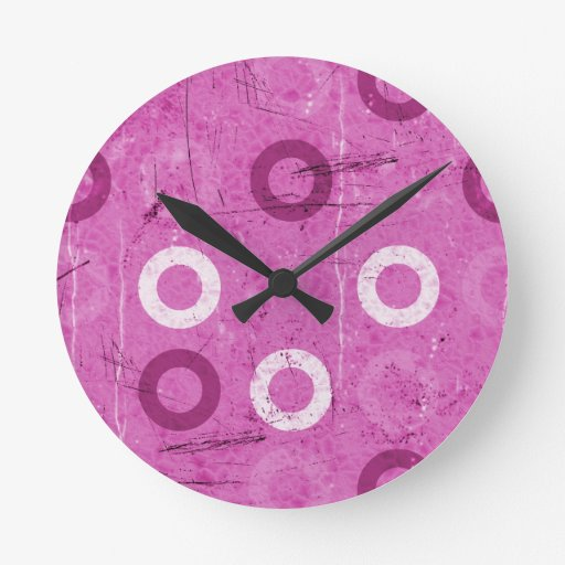 Funky Lollidots on grungy pink background Round Wall Clocks