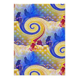 Funky Lollipop Swirl Pattern Roses Birds Invites