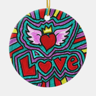 Funky Love Doodle Round Ceramic Decoration