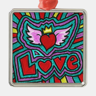 Funky Love Doodle Silver-Colored Square Decoration