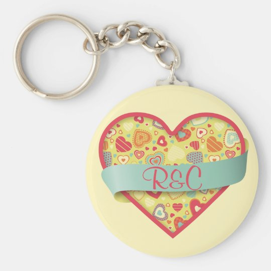 Funky Love heart with banner, customisable Basic Round Button Key Ring