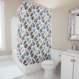 Funky Makeup Collage Shower Curtain