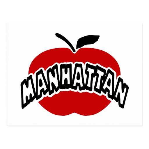 Funky Manhattan Outline Cut Out Of Big Red Apple Postcards