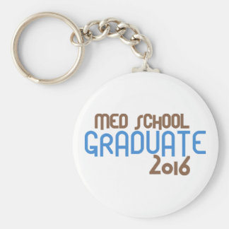 Funky Med School Graduate 2016 (Blue) Basic Round Button Key Ring