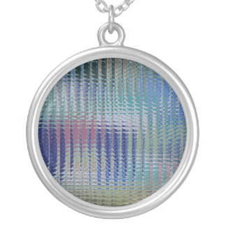 Funky Metallic Glass Abstract Round Pendant Necklace