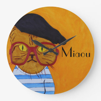 Funky Miaou Wall Clock! Large Clock