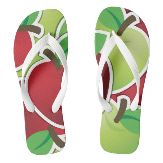 Funky mixed apples flip flops