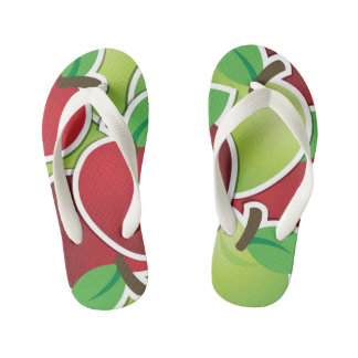 Funky mixed apples kid's flip flops