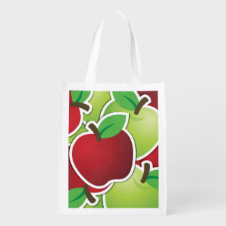 Funky mixed apples reusable grocery bag