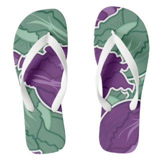 Funky mixed cabbage flip flops