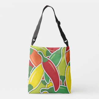 Funky mixed chilli peppers crossbody bag