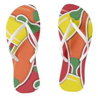 Funky mixed chilli peppers flip flops