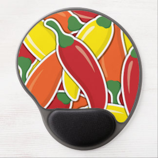Funky mixed chilli peppers gel mouse pad