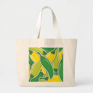 Funky mixed chilli peppers large tote bag